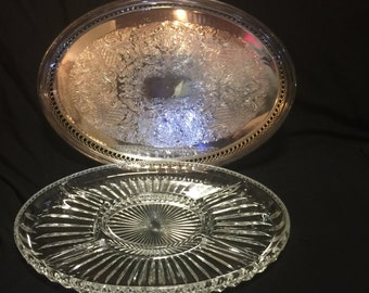 Party Tray, Serving Tray, Silver Serving Tray, Sheffield Silver Co., Vintage Serving Tray