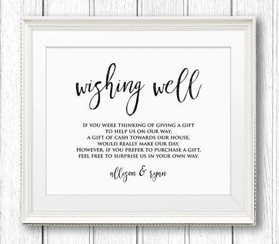 Wedding Wishing Well Sign, Rustic Wedding Sign Template, Instant Download, Editable Text, DIY Printable Sign, PDF File, Digital, 8x10 #SW12