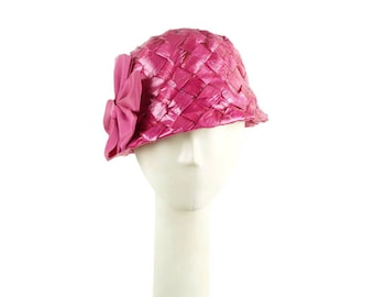 Pink Straw Hat, Wedding Hat, Mother of the Bride Hat, Occasion Hat, Pink Hat, Cloche Hat, Womens Hat, Summer Hat, Stingy Brim Hat, Dress Hat