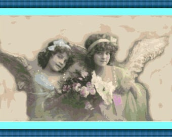 Sepia Faerie Fairy Twin Angels Cross Stitch Pattern PDF Instant Download
