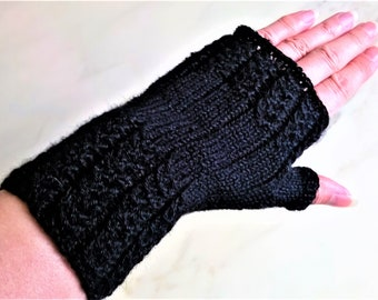 Alpaca black fingerless gloves hand knitted cable