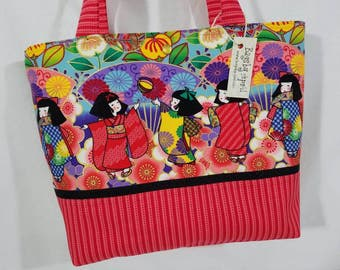 Japanese Kimono Geisha Girl Dolls fabric handbag purse tote bag