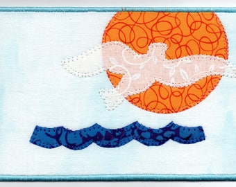 Seagull at Sunrise Quilted Fabric Postcard