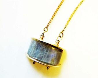 Labradorite Arc Pendant, Forged Brass Gold Semi-Circles, Vintage Chain, Balancing Protection Gemstone