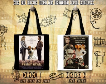 Parson Russell Terrier Tote Bag/Terrier Portrait/Terrier Art/Custom Dog Portrait/Movie Poster/Rear Window/When Harry Met Sally