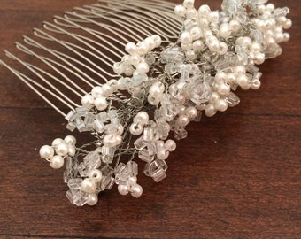 Hand beaded white and glass combs