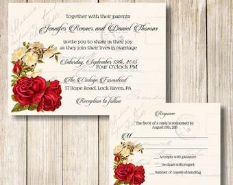 French Postcard Wedding Invitation, Printable Vintage French Postcard  Wedding Invite, Vintage Red Roses Wedding