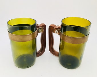 UPCYCLED BEER MUG- Made for recycled Olive Green Wine Bottle Tumblers