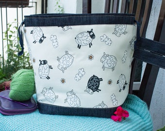 Large Size Cotton Project bag for Knitters and Crocheters with Funny Black Sheep Print