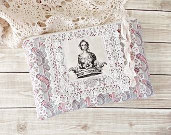 Shabby Paisley Vintage Lace Queen Zipper Pouch