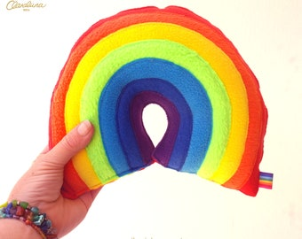 Claraluna Rainbow Plushie - A Cute and Funky Plush Fleece Rainbow. Small Rainbow Cushion. Rainbow Pillow. Rainbow Baby. ROYGBIV. CBeebies