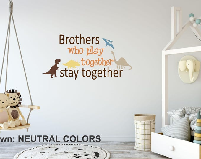 Brothers Boys Name Wall Decal // Neutral Color Boy Nursery // Boys Decor // Customized Decal // Children's Wall Decor // Brothers Sign