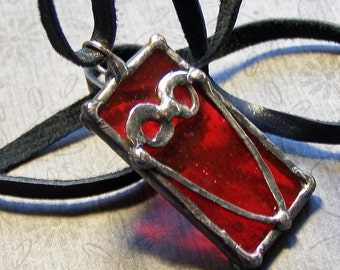 Art Glass Pendant, Stained Glass, Red Soldered Charm, Hand Forged Heart, Gothic Style, Artisan Made