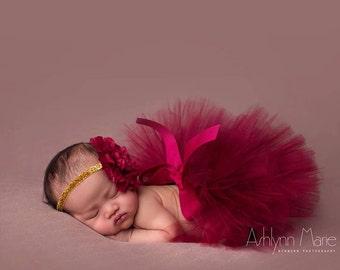 Cranberry/Wine tutu, newborn tutu and headband, baby tutu, photography prop