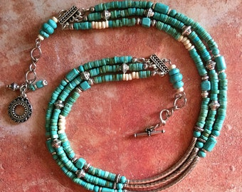 Turquoise and Silver Multi Strand Necklace