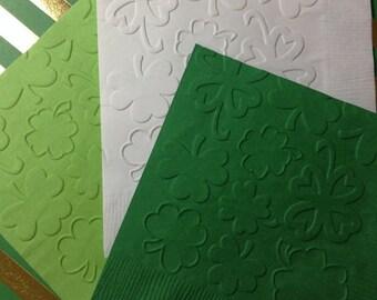 Shamrock Napkins ~ Embossed Paper Napkin ~ St. Patrick's Day ~ Four Leaf Clover ~ Shamrock ~ Irish ~ Lucky ~ Beverage ~ Luncheon
