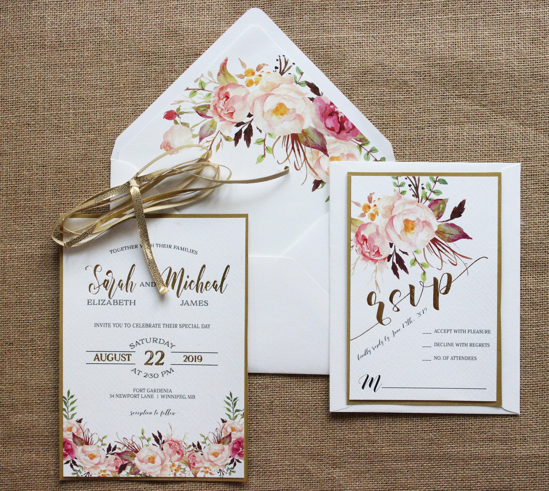 Gold Foil Floral Wedding Invitation Suite Rose Gold Blush Pink