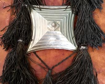 Huge Tuareg Magical Amulet  ' Tscherot ' with Leather Fringes