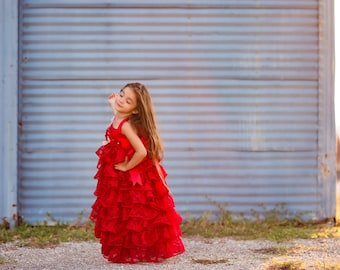 5f597c99778f Girls Couture Red Ruffle Photography Photohoot Birthday Dress Shabby Rustic  Flower Girl Maxi Dress Red Junior Bridesmaid Dresses Cosette
