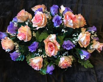 Cemetery Flowers ~ / Lavender and Peach Rose Saddle / Cemetery Flowers for Headstone or Ground decoration - Memorial Flowers