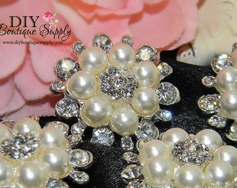 29mm Pearl buttons Rhinestone flatback Baby Headband Supplies Crystal Pearl flower centers Embellishment Bridal Bouquet supplies 3pcs 431068