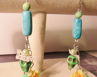 Blue & Yellow Sugar Skull Earrings Halloween Dia De Los Muertos Handmade