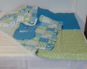 Handmade Baby Layette Gift Set 3 with Receiving Blanket, Burp Cloth, and 2 Bibs