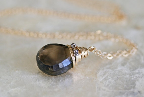 Smoky Quartz Necklace, Simple Necklace, Layering Necklace, Gemstone Necklace, Briolette Necklace