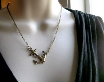 Brass anchor necklace, nautical jewelry - brass chain