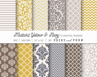 Damask Digital Paper, Vintage, Yellow, Navy, Beige, damask, taupe, chevron - Commercial Use