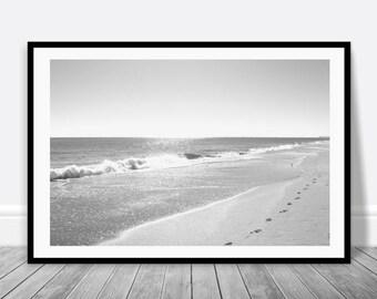 Beach House Art, Black White Wall Art, Beach Print, Digital Download, Beach Cottage Decor, Black White Beach Print, Printable Wall Art