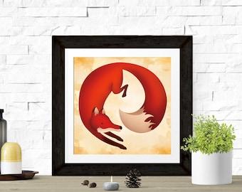 Fox Nursery Art for Kids Playroom Decor | Fox Ears and Tail Woodland Nursery Art | Gender Neutral Forest Wall Art Animals Nursery Art