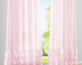 Pink Voile Sheer Shabby Chic French Paris 3 Tiered Layer Ruffle Curtain