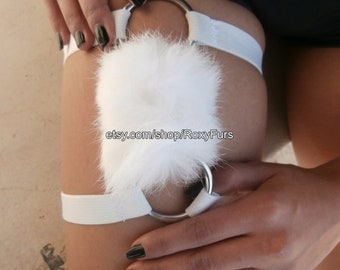 Fur garters lingerie with elastic cage and steel rings