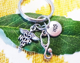 NP STETHOSCOPE KEYCHAIN w initial charm - nurse practitioner zipper pull - Choose a keyring or clasp from pix - write in notes box