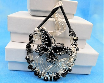 Butterfly Necklace Gift for Wife Unique Wire Wrapped Statement Jewelry Artistic Handcrafted Pendant Handmade Wearable Art Present for Women