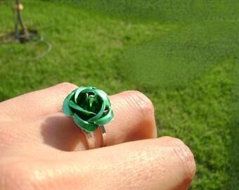 Romantic - green flower adjustable ring