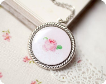 Pink Rose necklace - shabby chick pendant - pink flower jewelry - vintage style necklace - Vintage Rose pendant - bohemian necklace