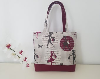 Burgundy and beige tote bag