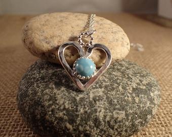 Sterling Silver Larimar Heart Pendent