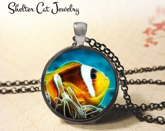 """Clown Fish in Fractals Necklace - 1-1/4"""" Circle Pendant or Key Ring - Handmade Wearable Photo Art Jewelry - Nature Art Marine Life Fish Gift"""