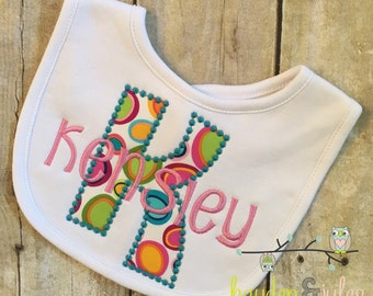 Brights Dots Applique Initial Bib - Personalized, Choose Your Fabrics