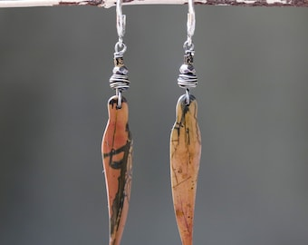 Brown/orange Jasper earrings in leaf shape with silver nest and texture hammer crescent moon shape on silver post style