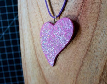 Glitter pink polymer clay heart necklace