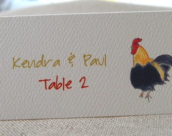 Rooster Tented Name Place Cards 10 Personalized or 12 Blank Event Name Place Seating Cards Brunch