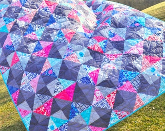 Lap Quilt, Patchwork Quilt, Picnic Blanket, Throw, - Floral, Geometric, Blue, Pink, Grey, Coral, Navy, Turquoise