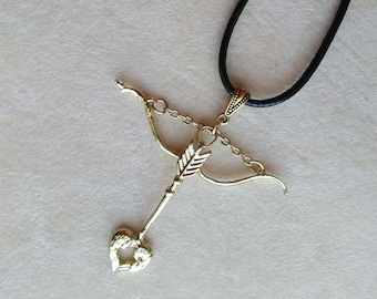 Golden Sagittarius Pendant, Black Leather cord, Bow&Arrow Jewelry, Archer Sign Necklace, Astrological Gift for Her, November December Zodiac