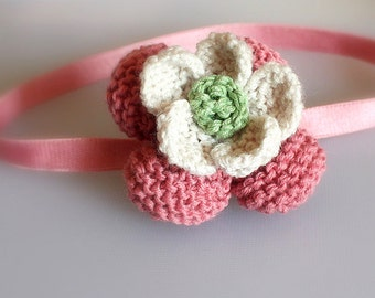 Knitting Pattern (pdf file) Flower /Old Fashioned Pink headband