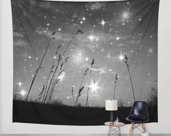 Only the stars and me, Wall Tapestry, Indoor, Outdoor, Privacy Screen, Dorm Room Decor, Black and White, Photography Wall Art, Nature, dorm