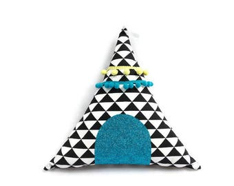 Teepee in black and white pattern cotton cushion geometric / child's room decor / Scandinavian Style